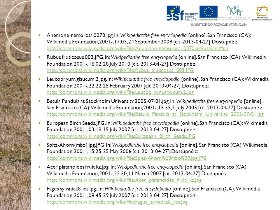 Anemone-nemorosa 0070.jpg. In: Wikipedia: the free encyclopedia [online]. San Francisco (CA): Wikimedia Foundation, 2001-, 17:03, 24 September 2009 [cit. 2013-04-27]. Dostupné z: http://commons.wikimedia.org/wiki/File:Anemone-nemorosa_0070.jpg?uselang=en